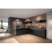 Wooden Edge Sealed Standard Kitchen Cabinets Slab Countertop Pure Black Color Manufactures