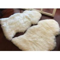 Living Room Soft White Fur Floor Rug , Smooth Wool Sheepskin Car Seat Covers  Manufactures
