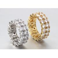 Buy cheap Hip Hop Street Personality Double Layer Zircon Copper Micro-Inlay Ring from wholesalers