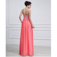 Quality Sheath Column Sweetheart Floor-length Chiffon Evening Dress With Beading for sale