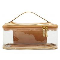 Gold plastic travel cosmetic make up toiletry bag / PVC makeup bags Manufactures