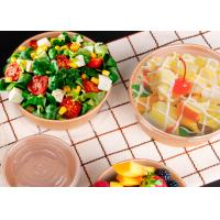 China Disposable printed take away paper salad bowl with plastic lid brown kraft paper on sale
