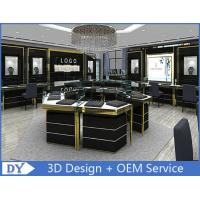 Custom Made Mirror Black Glass Jewelry Display Cases / Retail Jewellery Display Cabinets Manufactures