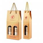 750ml Christmas 2 Bottle Kraft Cardboard Wine Box With Hot Stamp LOGO
