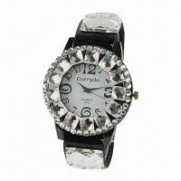 Ladies' Jewelry Watch, Alloy Case with Rhinestone Decoration, Leather Strap Manufactures
