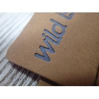 Eco- Friendly Washable Brown Soft Leather Embossed logo hang tag Manufactures