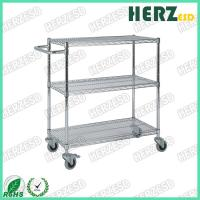 China 3 Layers Stainless Steel Wire Shelves , ESD Trolley For Control EPA Internal Transport Risks on sale