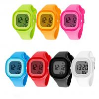 China Square Plastic Case LCD Digital Sports Watch With Silicone Band Soft Touch on sale