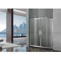Two Moving Door Stainless Shower Enclosures 8 / 10 MM Nano Clear Tempered Glass with Big Hanging Rollers Manufactures