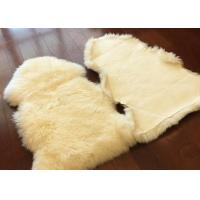 Quality Home Decorative White Real Sheepskin Rug Long Merino Wool 60 X 90cm Natural Shape  for sale