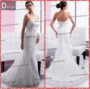 Elegant white Lace Sweetheart Neckline Zip Back Mermaid Wedding Dress Patterns Free Manufactures
