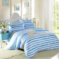 Kids Bedroom Home Bedding Sets Environmentally Friendly Blue / Black And White Striped Bedding Manufactures