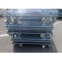 Silvery Cold Steel Foldable Wire Mesh Security Cage For Warehouse Storage Manufactures