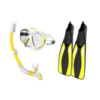 Adults Diving Snorkel Set Yellow Color With Anti - Fog Coated Tempered Glass Manufactures