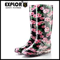 Ladies flower rain boots 8inch PVC safety rain boot work boots for women flower Manufactures