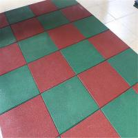 Solid color recycled rubber flooring tile playground outdoor park mat Manufactures