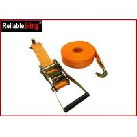 Yellow Ratchet Tie Down Strap 3000lbs Rated Capacity with Flat Snap Hooks Manufactures