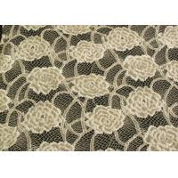 Eco-Friendly Brushed Lace Fabric Yellow , Garment Trimming Anti-Static Material CY-LQ0039 Manufactures