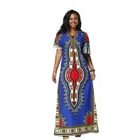 Wax Printed African Print Womens Clothing , Short Sleeve African Print Maxi Dress Manufactures