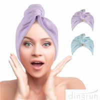 Hair Towel Wrap Super Absorbent Hair Turbans for Women Quick Dry Hair Microfiber Towels Manufactures
