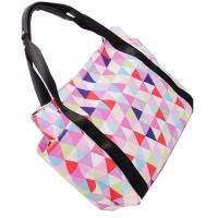 China Portable Colorful Polyester Tote Bags With Leather Handle Custom Made on sale