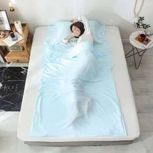 Silk Material Rectangular Sleeping Bag Liner Portable With Pillow Pocket Manufactures
