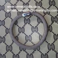 Stainless steel mesh chain bracelet bangle with magnetic enclosure Manufactures