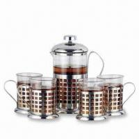 China 5-piece Stainless Steel Tea and Coffee Maker with 1 x 600 and 4 x 200mL Capacity on sale