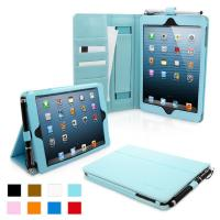 iPad 4 & iPad 3 Case - PU Leather Case Cover Baby blue Manufactures