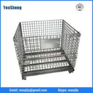Galvanized wire mesh container warehouse equipment cage metal storage