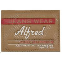 Apparel Iron On Leather Patches ,  Fashion Embroidered Leather Patches Manufactures