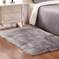 Grey White Plush Faux Fur Rug Shag Area Rug Nursery Room Carpet Christ Manufactures