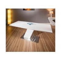 White Gloss Extendable Modern Dining Table Furniture Foldable Metal Frame Manufactures