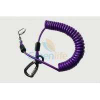 Purple Nylon Retractable Tool Lanyard Plastic Covered With Aviation Aluminum Hook Manufactures