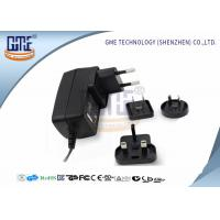 Interchangeable Plug Power Adapter 12V 1A  , Black AC DC Power Adaptor Manufactures