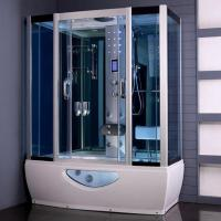 Tempered Glass Rectangular Shower Enclosure Steam Tub Shower Combo With Shower Handle