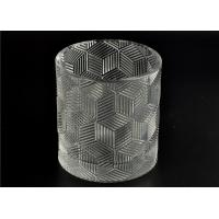 China Contemporary Glass Candle Holder Transparent With Embossed Pattern on sale