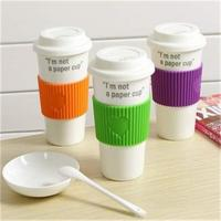 ceramic coffee cup with silicone Lid covers with custom logos for promotion Manufactures