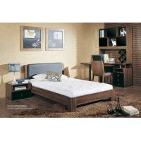 Walnut wooden Adult Single Bedroom Furniture Leather headboard Bed with Home Studyroom MDF Corner Table with Bookshelves Manufactures