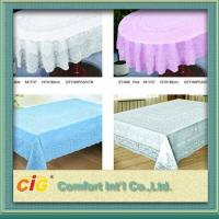 Elegant Patterned Lace Round PVC Transparent Film Tablecloth For Picnic / Restaurant Manufactures