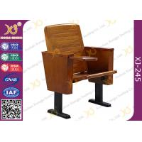 Slim Metal Leg Conference Hall Chairs with Strengthen Standing Foot Wood Seat Manufactures