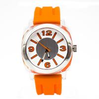 Orange Silicone Wristband Watch Waterproof Stainless Steel  Case Manufactures