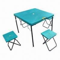 Plastic folding camping beach table and chairs, OEM orders are welcome Manufactures