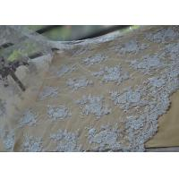 Floral Beaded Corded Lace Fabric , Ivory Embroidered Lace Fabric With Wavy Edging Manufactures