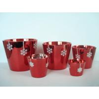Christmas Red Electroplated Ceramic Flower Pot For Plants 7 X 7 X 7 Cm , Flake Design Manufactures