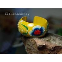 beautiful Color Painting Wooden Bangle(Yellow),discount fashion accessories #865 Manufactures