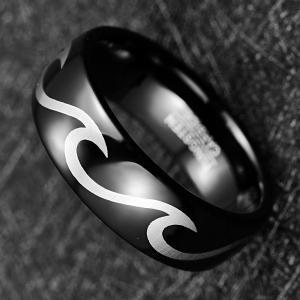 2019 Nuncad 8mm Men's Ring Wedding Band Engagement Ring Black Tungsten Steel Ring Laser Wave Pattern Tungsten Carbide Manufactures