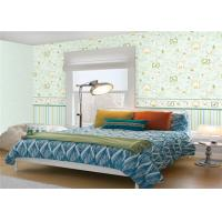 Non Woven Cute Kids Bedroom Wallpaper Mould Proof Green Leaf Pattern Manufactures