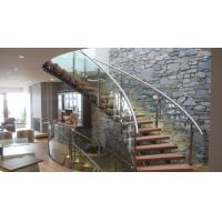 Interior modern glass wood tread curved stair / staircase design Manufactures