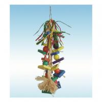 natural wooden bird toys 15 inches raffia grass and corn husk string for cockatiel Manufactures